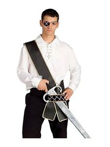 Pirate Sword Sash Caribbean Black Gold Dress Up Halloween Costume Accessory