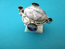 925 Silver Ring With Natural Dendric Opal,Tourmaline Size N 1/2, US 7 (rg2400)