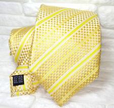 Cravatta regimental  gialla e oro  jacquard  TOP Quality NUOVA marca TRE seta