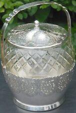 VINTAGE SILVER PLATED & CUT GLASS BISCUIT BARREL - PRATA REGIA 90