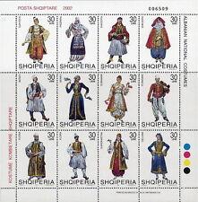 Albania Stamps 2002. NATIONAL FOLK COSTUMES. Sheet MNH. Michel 2846-57