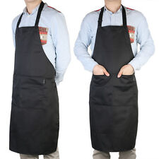 Adult Black Adjustable Bib Apron with 2 Pockets for Chef Waiter Kitchen Cooking