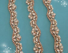 "20"" long ROSE GOLD CRYSTAL PEARL Wedding Trim = APPLIQUE PART ONLY! = DIY!"