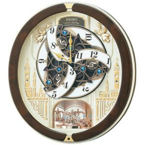 Seiko Wall Clock Radio Analog RE579B Karakuri Select Melody Swarovski crystal