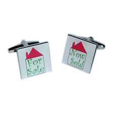 Red & Green For Sale Now Sold Cufflinks With Gift Pouch Estate Agents Present