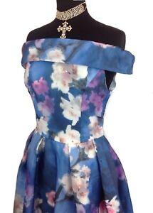 Izabel London Organza Overlay, Blumendruck, Bardot Anlass Kleid Größe 12,14,16