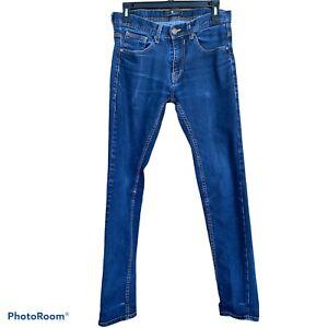 Zara Man Dark Wash Skinny Leg Zip Jeans Pants Size 31