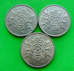 3  MINT  STATE  *1963/66/67*  FLORINS  2/- ...LUCIDO_8  COINS