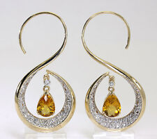 Diamond citrine earrings 14K yellow gold swirl round brilliant pear dangle 4.20C