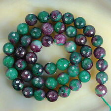 4mm Natural Faceted Ruby Emerald Round Gemstone Loose Beads 15''AAA+++