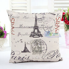 "Paris Eiffiel Tower Throw Pillow Cases Home Cushion Cover British Style 18"" UK"
