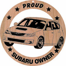 Subaru WRX Wood Ornament Engraved