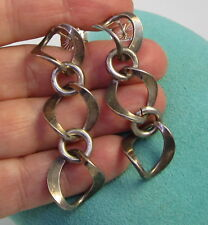 Estate Vintage Unique Sterling Silver Long Thick Chain Pierced Dangle Earrings