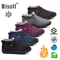 Women Ankle Boots Fur Lined Waterproof Short Snow Boots Flat Casual Shoes Winter