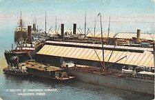 c.1907 Ships in Section of Harbor Galveston TX post card