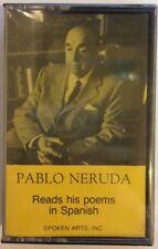 "Pablo Neruda ""Reads his poems in Spanish"" Cassette Tape Rare *SEALED* Literature"