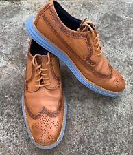 COLE HAAN Shoes Mens 8 LUNARGRAND WINGTIP OXFORD Carmello Brown Blue Lace Up EXC