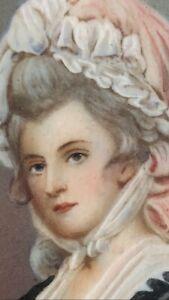 ANTIQUE MARTHA JEFFERSON? MINIATURE PAINTING FIRST LADY BONNET BURLED FRAME H P