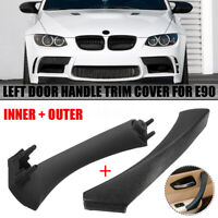 Black Left Side Inner & Outer Door Panel Handle Pull Trim Cover For BMW E90 328i