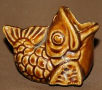 Vintage hand made pottery fish figurine cognac cup