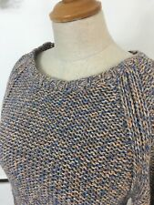 JAEGER Cosy Blue Cream Mix Chunky Knit Jumper Size 8 10 SMALL