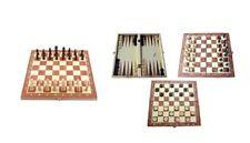 Dama Scacchi e Backgammon Gioco Box in Legno 3 in 1 Giochi Di Societa'