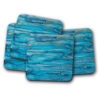 4 Set - Blue Stained Glass Effect Art Coaster - Modern Artist Gift #16014