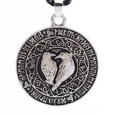 Celtic Raven Pendant Necklace Viking Rune Amulet Braided Leather Silver