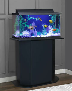 New AQUARIUM STAND 20/29-Gallon Black Solid Wood Storage Fish Tank Not Included