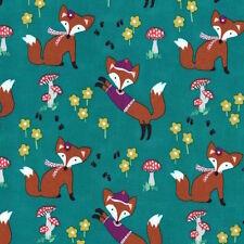 Michael Miller Fox Woods lil' Foxy Teal Fabric