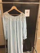 Vintage Gilead Light Blue Nylon & Lace Nighty Nightgown Sz L 80s Nwt slight fade