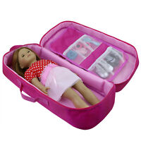 Doll Travel Carrier Suitcase Carry Bag Storage Case for America 18inch Girl Doll