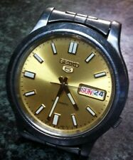 SEIKO 5 WATCH AUTO 21J 7S36-02F0 10 BAR DAY DATE GOLD FACE DISPLAY BACK