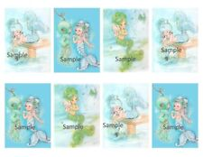 Vintage Little Girl Mermaid 8 x Gift Tag Craft Images - Party Birthday Cards