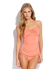 ROBIN PICCONE Gemina Bandeau Halter Swimsuit Bikini Bra Tankini Top Coral M $134