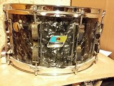 RARE VINTAGE LUDWIG 1979/80 7 X 14 MAPLE SNARE DRUM BDP BLACK PEARL CONCERT ROCK