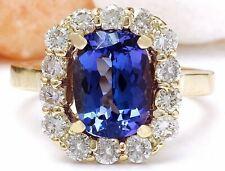 4.27 Carat Natural Tanzanite 14K Solid Yellow Gold Diamond Ring