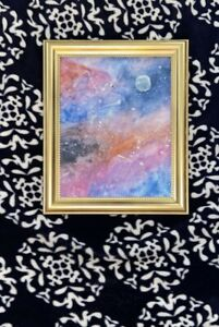 Galaxy painting comes with gold frame