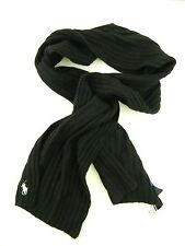 POLO Ralph Lauren $80 MEN'S Black Solid Wool Blend MUFFLER Scarf WARM WINTER M28
