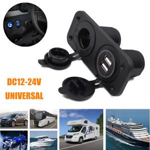 12V Dual USB Socket Mount Car Charger Adapter Blue LED Digital Display Voltmeter