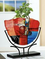 GIANT World Class Art Glass Murrine Fused Glass Space Age Vase & Metal Stand
