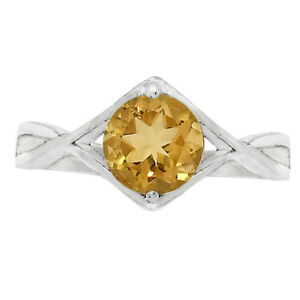 Natural Citrine 925 Sterling Silver Ring s.7.5 Jewelry E607