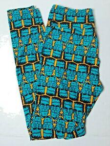 Lularoe Halloween Frankenstein Monster Leggings OS Preowned Blue And Yellow