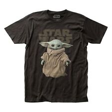 Impact Men's The Mandalorian Child Baby Yoda T-Shirt, 100% Cotton Tee, Black