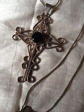 "Sterling Silver 3"" Swirl Pattern Cross Pendent Black Onyx Center W/ Liquid St Ch"