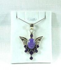 Natural Charoite & Purple Amethyst Solid Sterling Silver Necklace
