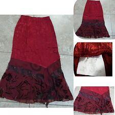 Vtg Made in California Maxi Skirt Asymmetric Hem Burgundy Design Rayon Sz 10