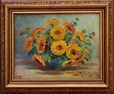 Tableau Madeleine Lasibille née en 1879 bouquet de feurs