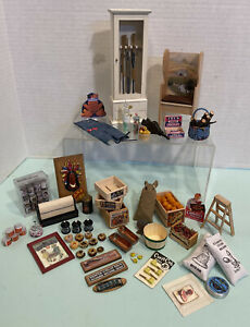 Vintage General Shop Items Many Handcrafted Dollhouse Miniature 1:12