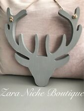 Grey Wooden Stags Deer Head Wall Hanging Plaque Next Day Post